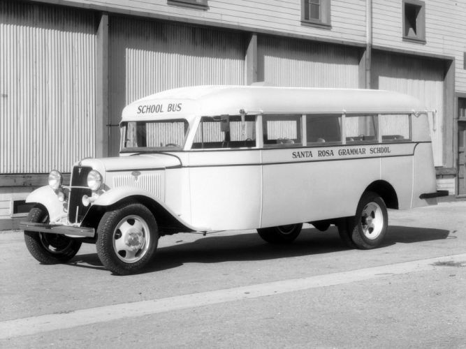 1934 Ford Model-BB School Bus Crown transport semi tractor retro g wallpaper