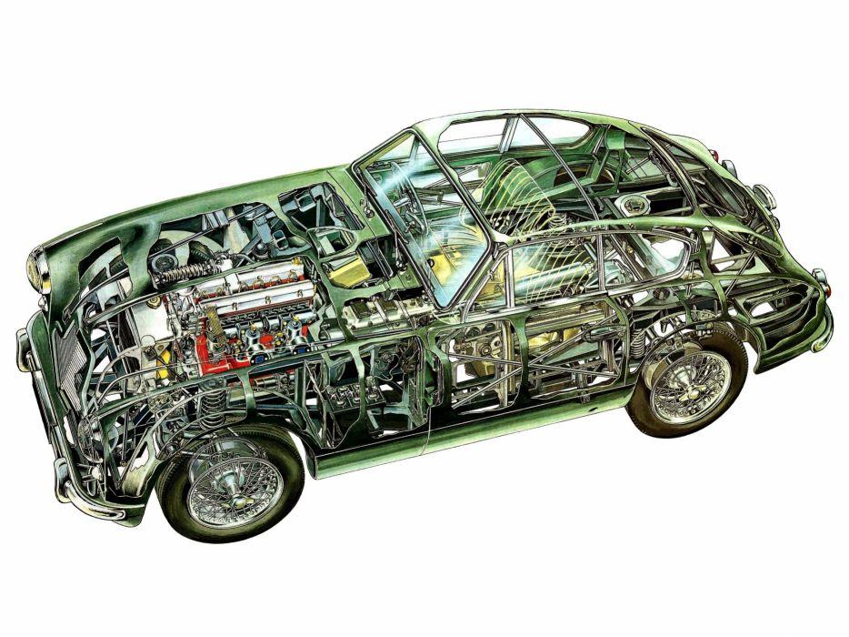 1953-55 Aston Martin DB24 Sports Saloon UK-spec retro interior engine    f wallpaper