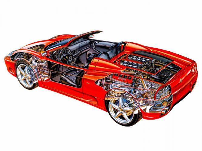 2000-05 Ferrari 360 Spider supercar interior engine f wallpaper