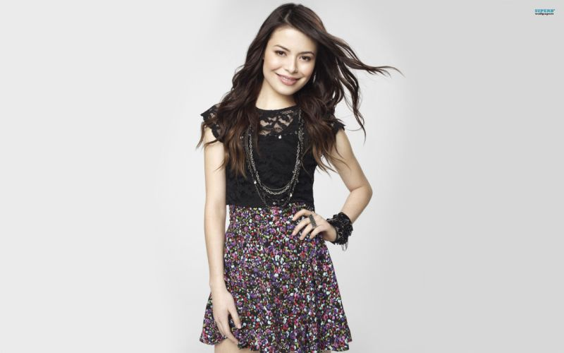 brunettes women Miranda Cosgrove simple background white background wallpaper