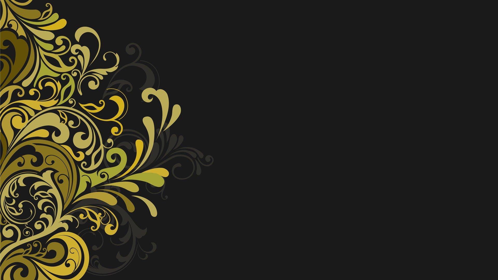 Vectors Floral Graphics Grey Background Wallpaper 1920x1080