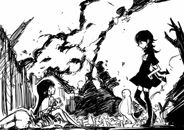 Touhou thigh highs monochrome black dress manga doujinshi Shimadoriru wallpaper