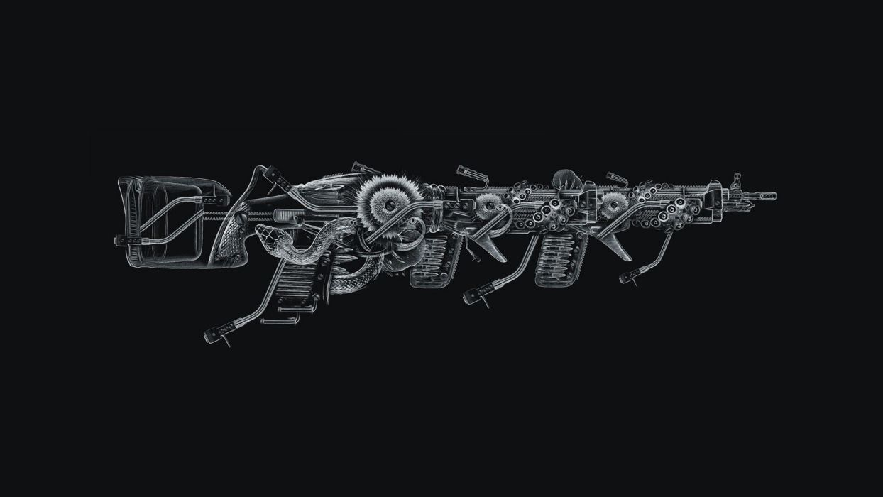 black guns flowers tentacles snakes octopuses turntables ammunition photo manipulation Nicolas Obery wallpaper