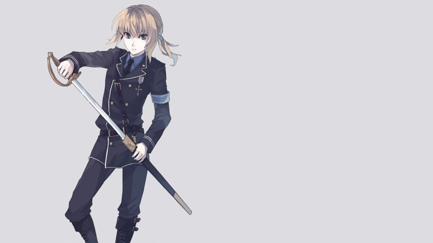 blondes Fate/Stay Night uniforms green eyes Saber anime girls Fate series wallpaper