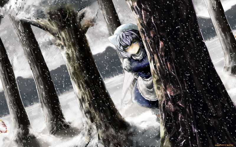 video games snow Touhou trees forests anime Letty Whiterock hats anime girls wallpaper