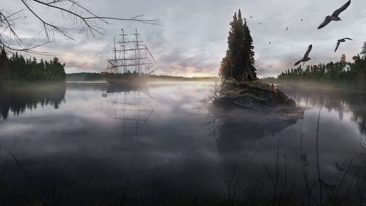water landscapes ships wallpaper