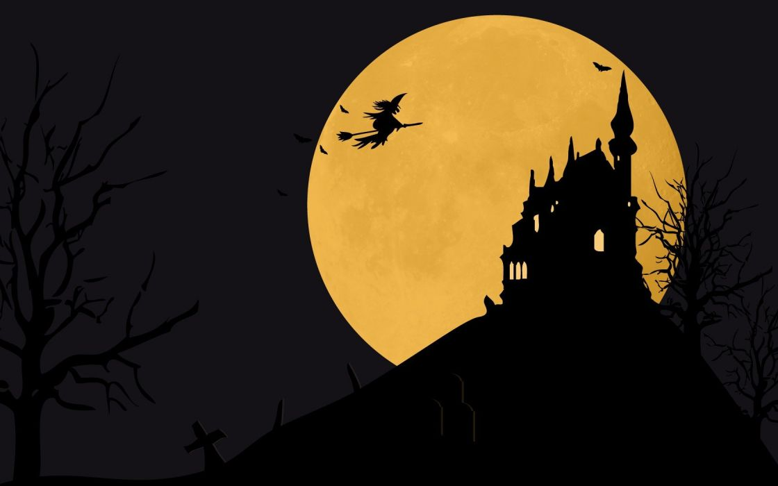 castles trees Halloween Moon witches wallpaper