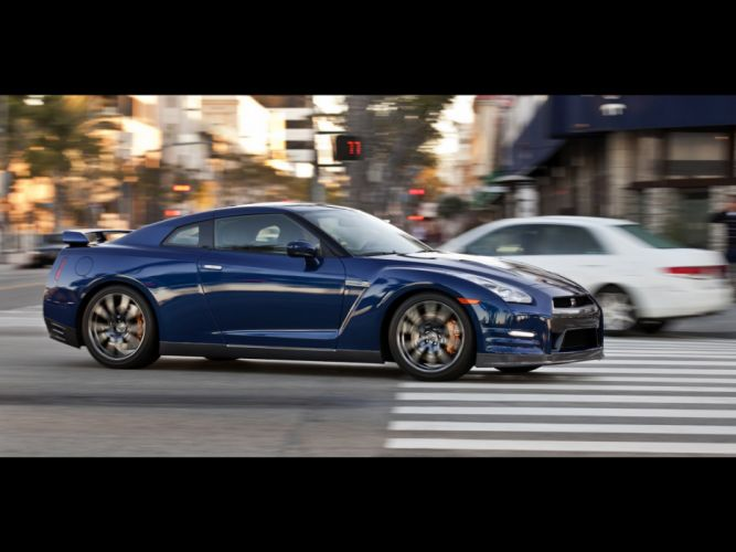 blue cityscapes cars Nissan side view Nissan GT-R R35 wallpaper
