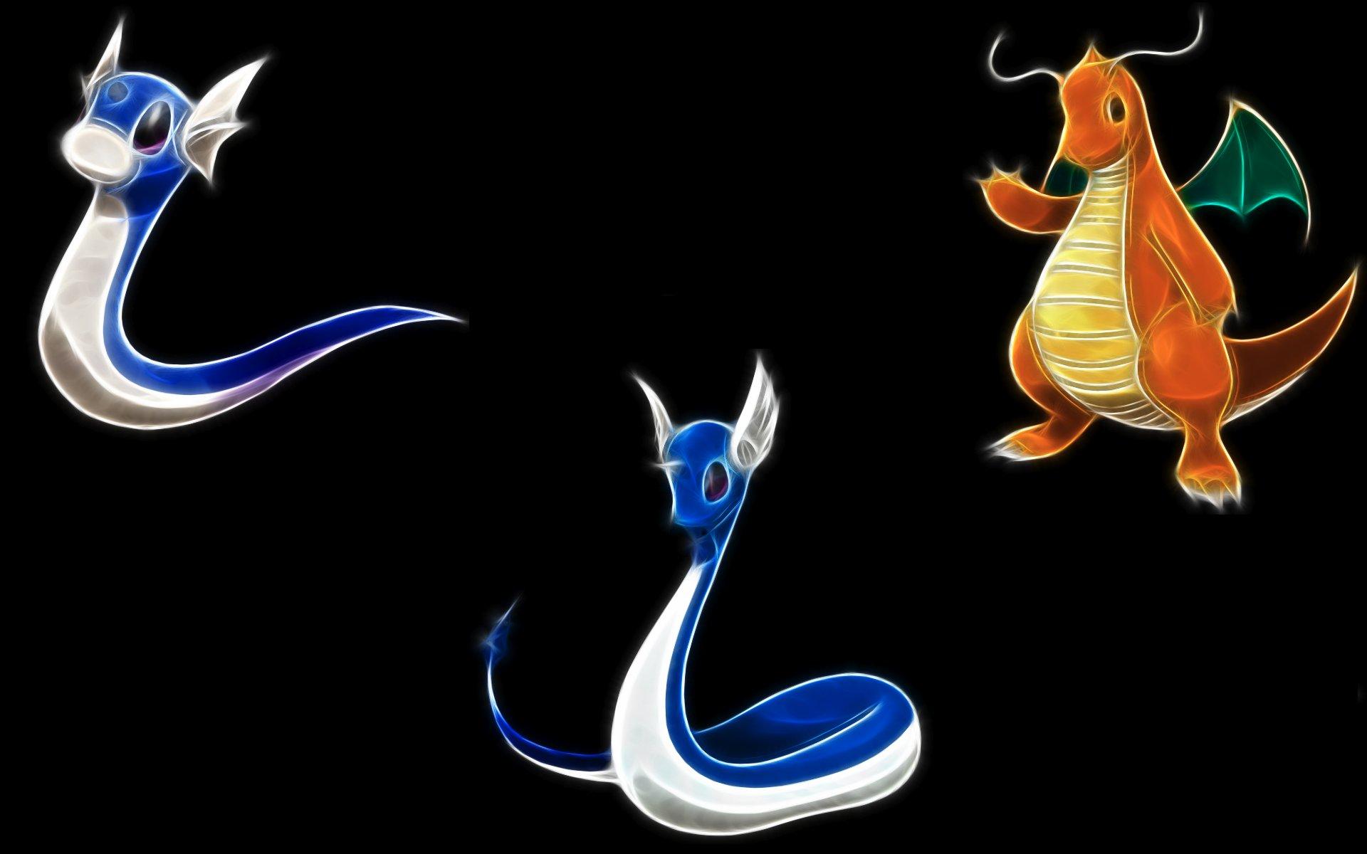 Pokemon Dragonair Dragonite black background Dratini ...  Pokemon Dragona...