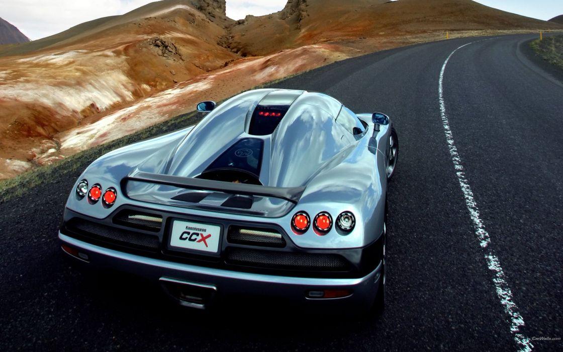 cars roads back view vehicles Koenigsegg CCX wallpaper