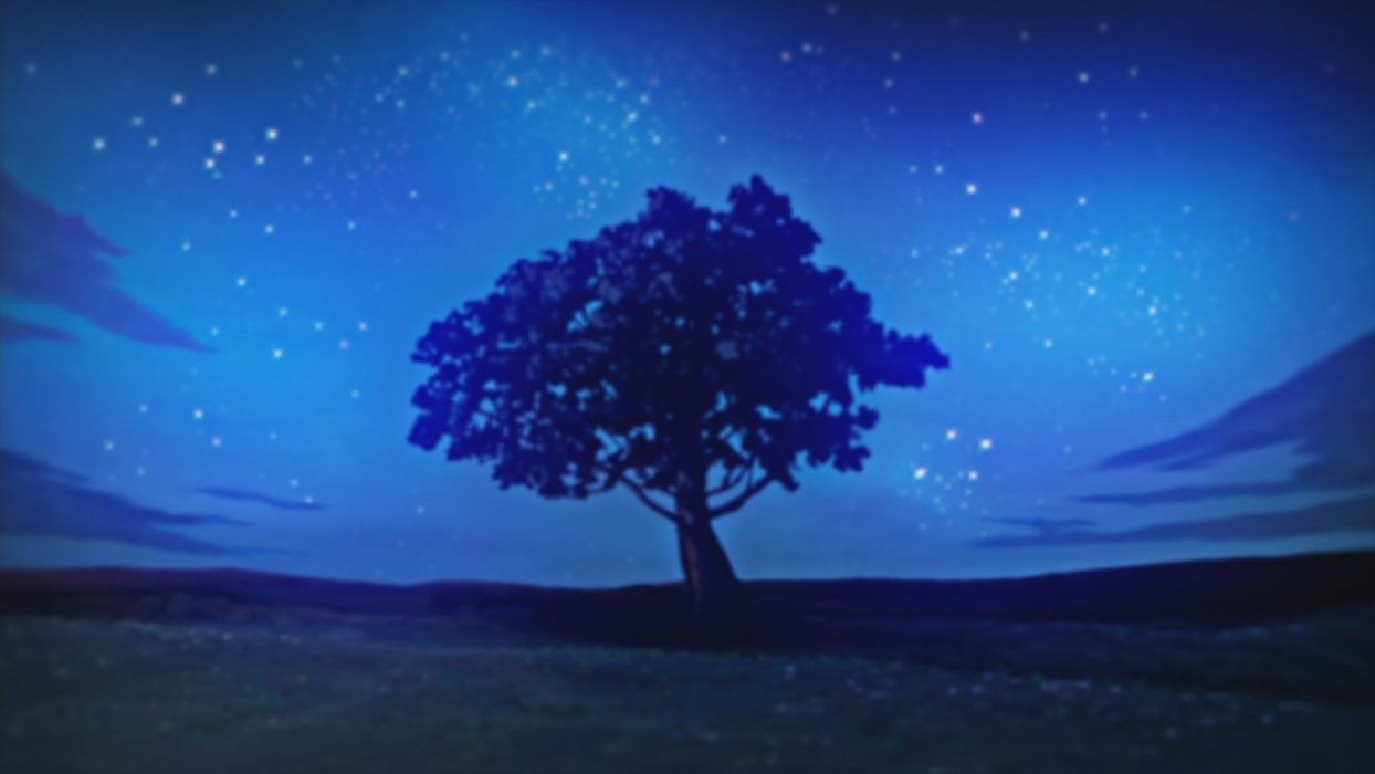 Nature Trees Night Stars Illustrations Anime Nichijou