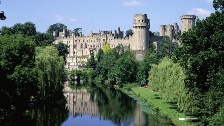 landscapes trees England Warwick castle wallpaper