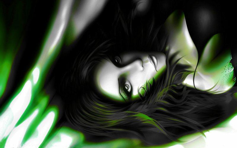 women models Dark Angel fantasy art faces black hair wallpaper
