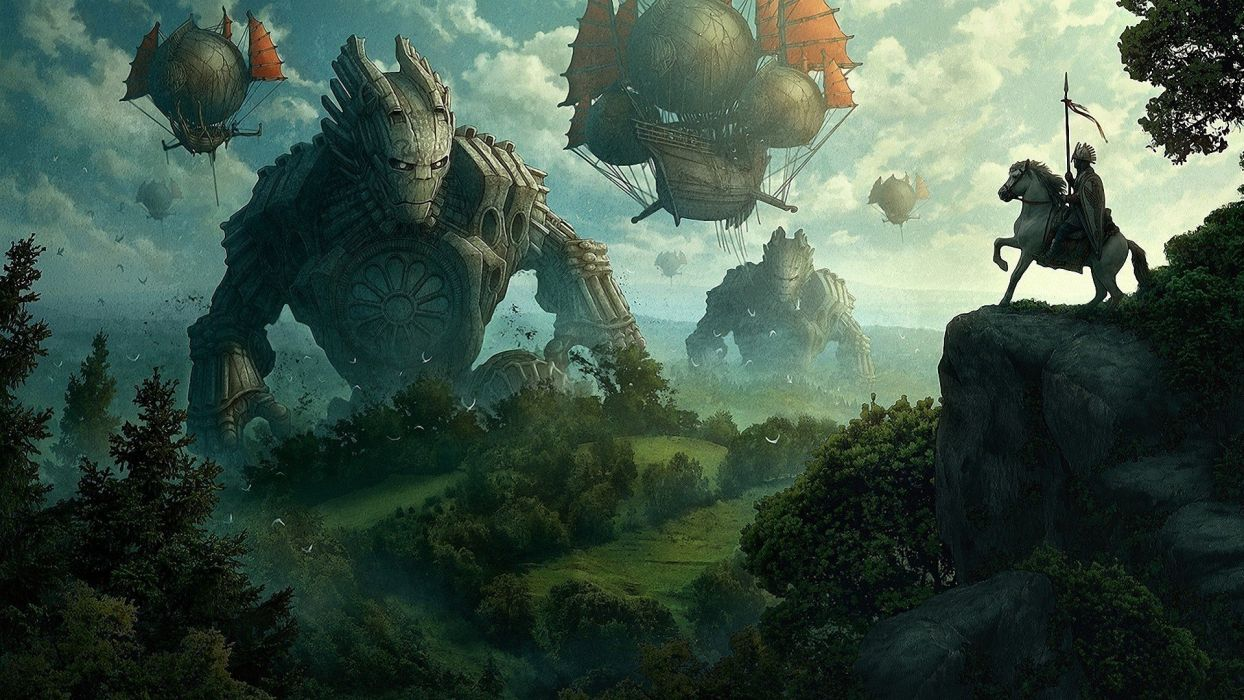 green forests knights grass fantasy art collosus artwork medieval zeppelin air balloons  skyscapes wallpaper