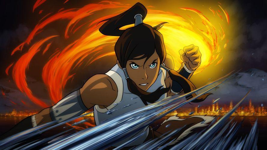 brunettes women water fighting fire Korra Avatar: The Legend of Korra wallpaper