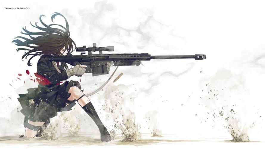 guns school uniforms anime simple background anime girls Kozaki Yusuke original characters wallpaper