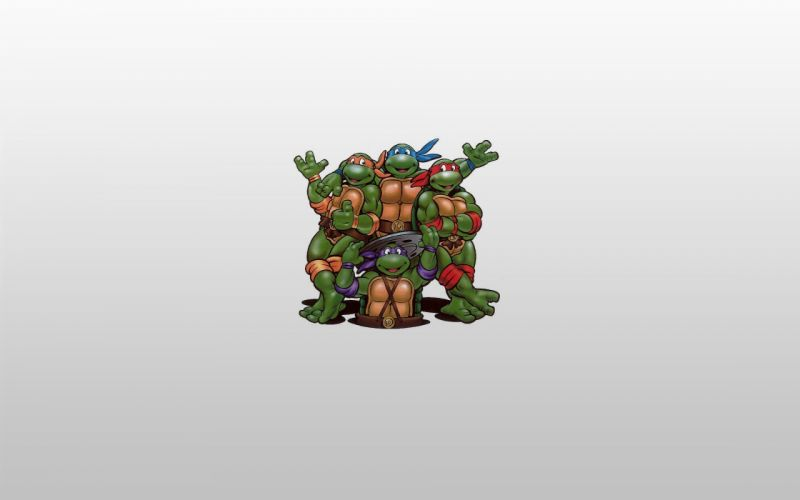 cartoons Teenage Mutant Ninja Turtles donatello Leonardo raphael simple background Michaelangelo grey background wallpaper
