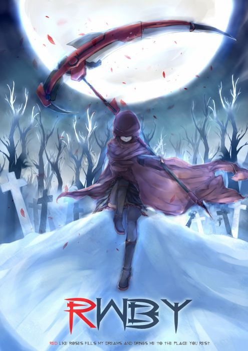 boots clouds nature winter snow cross trees night forests text scythe Moon skirts outdoors weapons jackets short hair thigh highs ammunition smiling sitting hoodies anime flower petals Full Moon coat anime girls black hair headstone skies Ruby Rose RWBY wallpaper