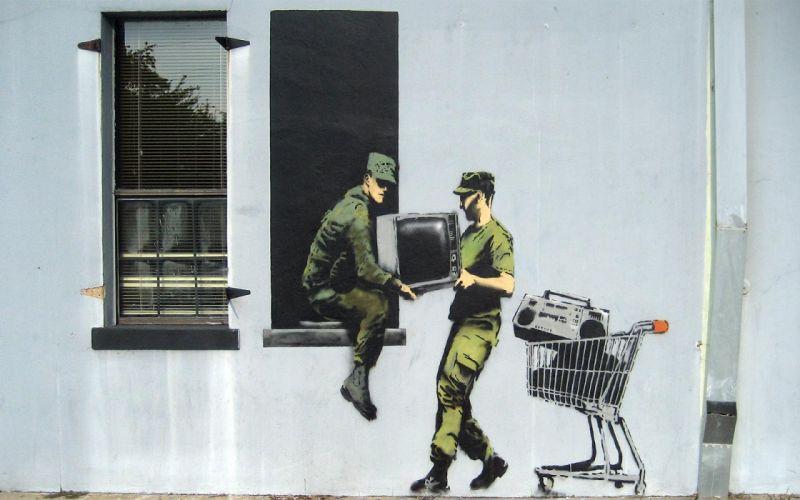 Banksy graffiti art wallpaper