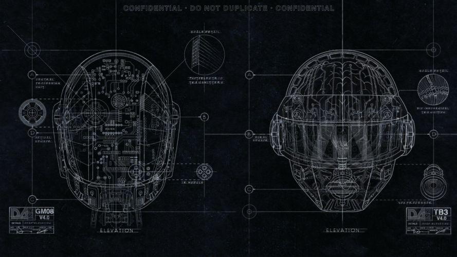 music robots Daft Punk houses Disco funky schematic EDM Random Access Memories wallpaper