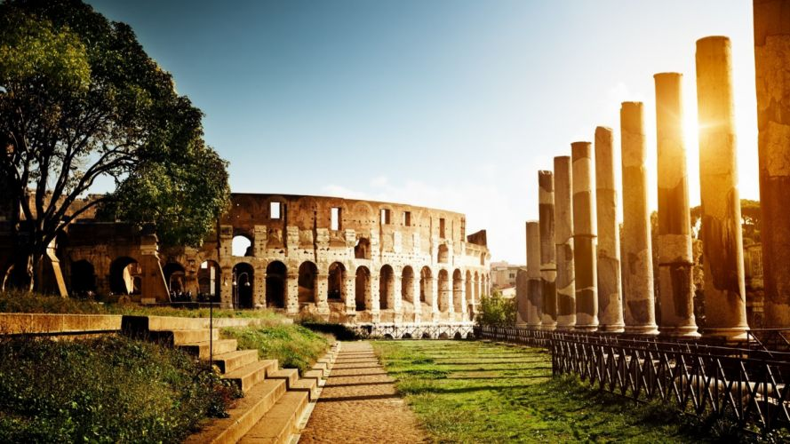 nature trees architecture grass Rome Italy Colosseum wallpaper