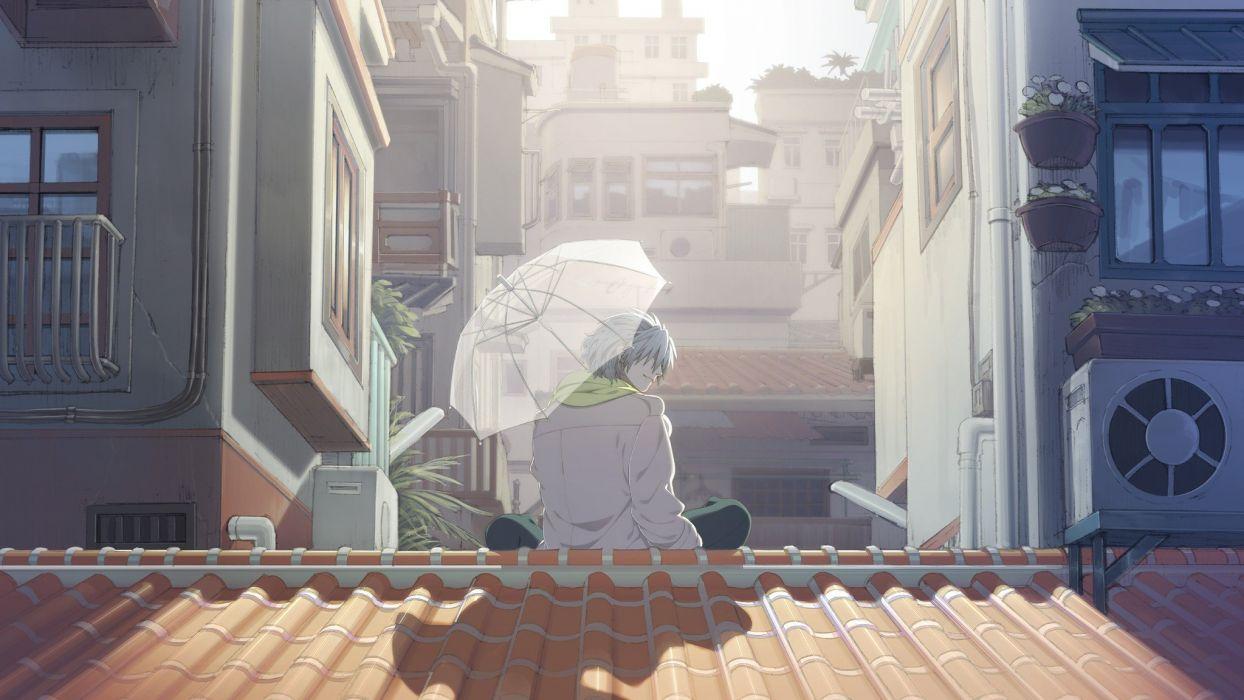 light Sun cityscapes rooftops umbrellas scarfs guy DRAMAtical Murder Clear (DMMd) wallpaper