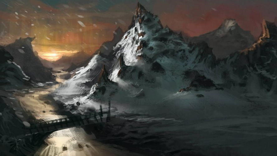 water sunset paintings mountains landscapes snow bridges digital art artwork rivers reflections skies wallpaper