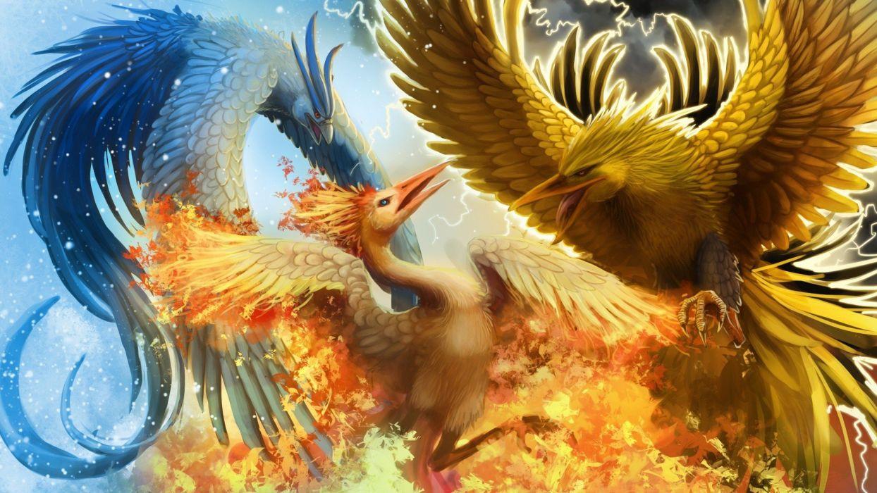 Pokemon war phoenix design fantasy art digital art Zapdos Articuno Moltres The sky creative wallpaper