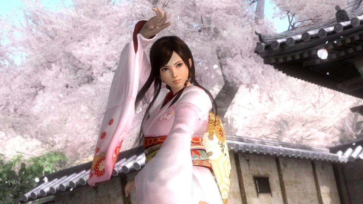 Japan video games CGI Dead Or Alive Japanese kimono Japanese clothes Kokoro wide sleeves wallpaper