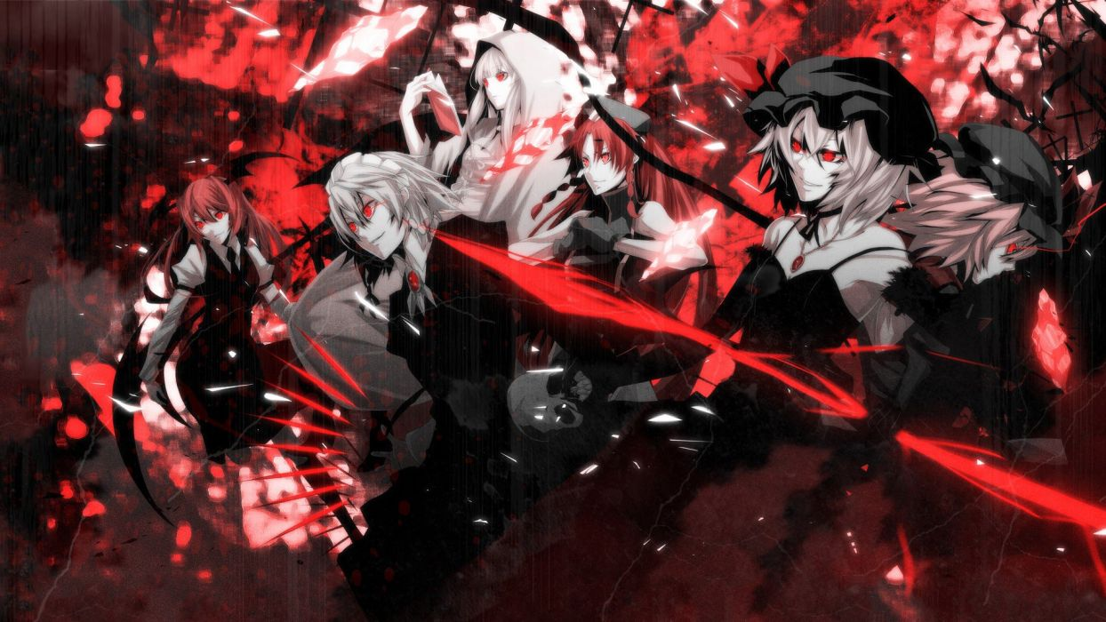 abstract skulls video games Touhou wings black red gloves dress maids redheads cleavage tie skirts long hair weapons Izayoi Sakuya vampires books red eyes short hair crystals smiling shirts knives collar hoodies pendant jewelry braids white hair hair ribb wallpaper