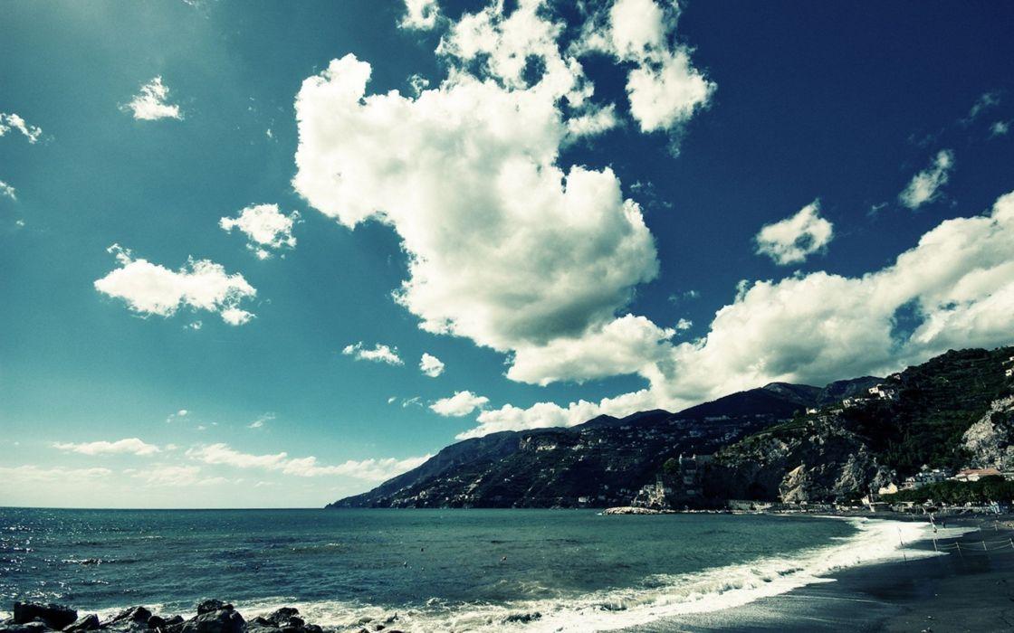 clouds landscapes nature coast skyscapes wallpaper