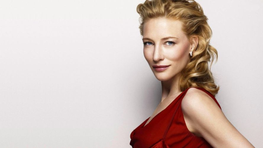blondes women actress Cate Blanchett red dress simple background faces wallpaper