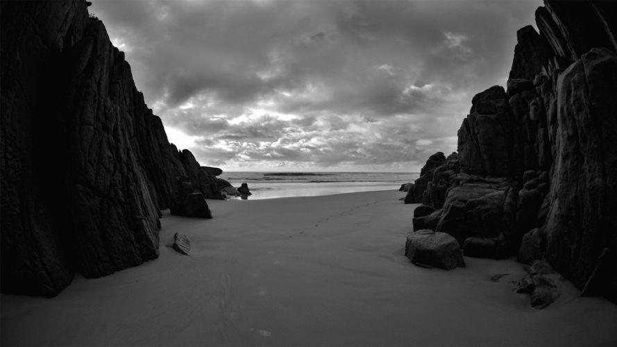 clouds rocks grayscale monochrome beaches wallpaper