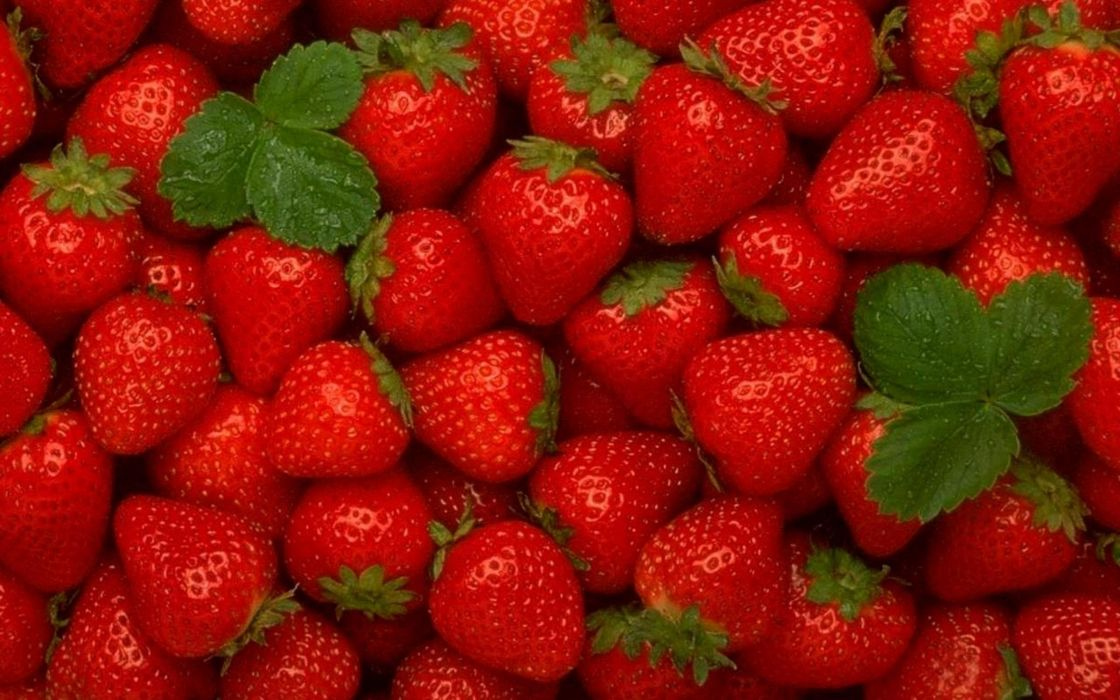 red fruits summer strawberries wallpaper
