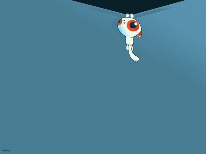 blue eyes minimalistic animals vectors kittens wallpaper