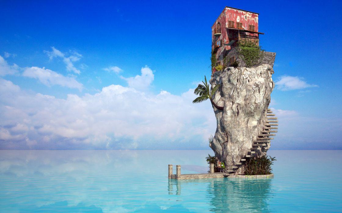 sea house-wide wallpaper