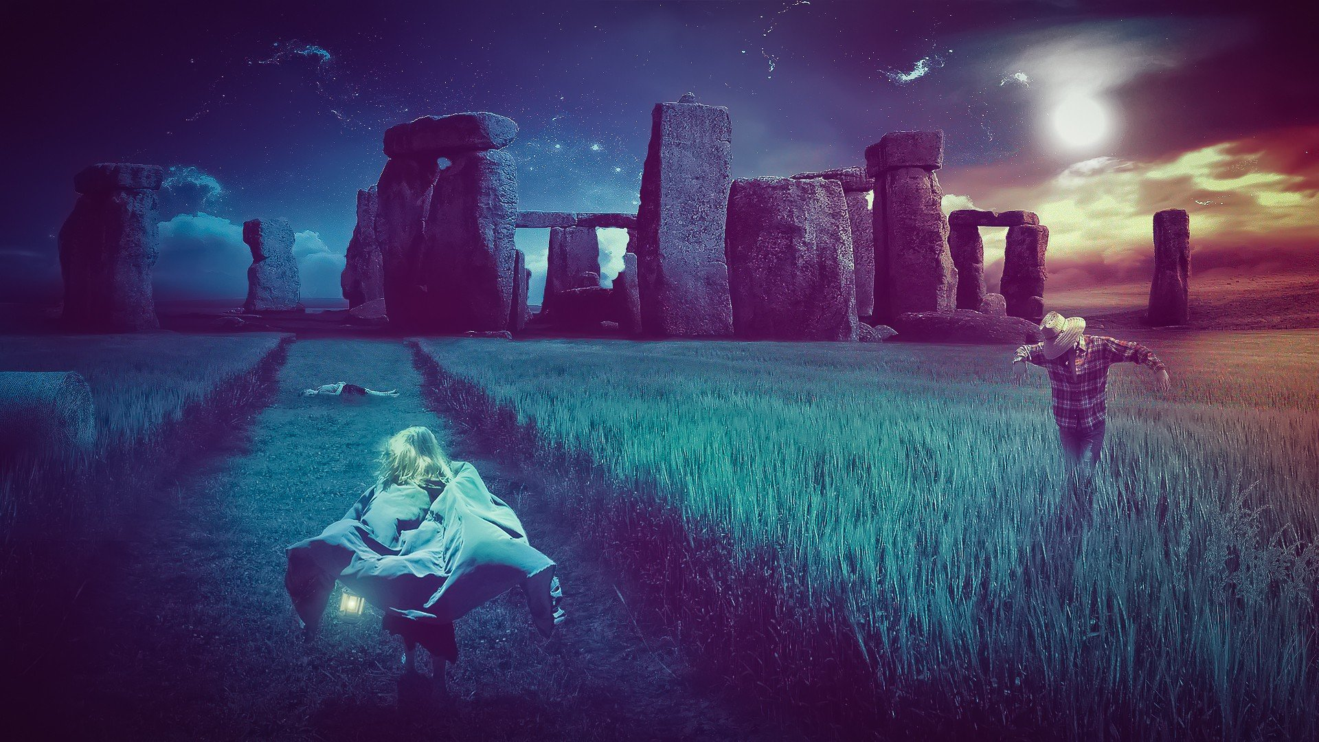 Night Alone Wallpaper Outer Space Night Grass