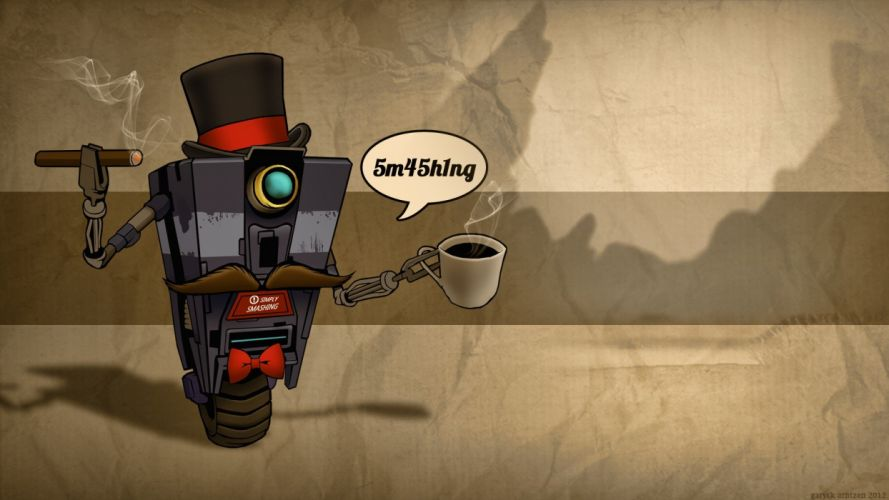 robots coffee Borderlands claptrap coffee cups cigars bowtie mustache top hat sir wallpaper