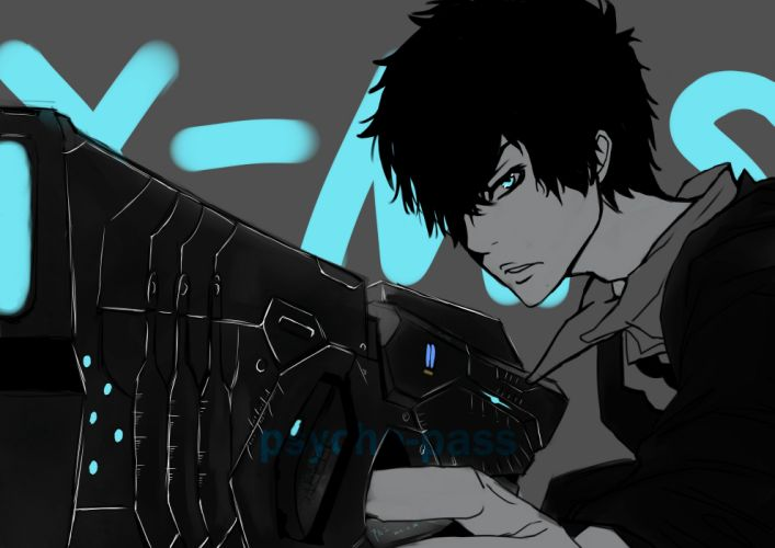 anime anime boys aqua eyes black hair Psycho-Pass Kougami Shinya wallpaper