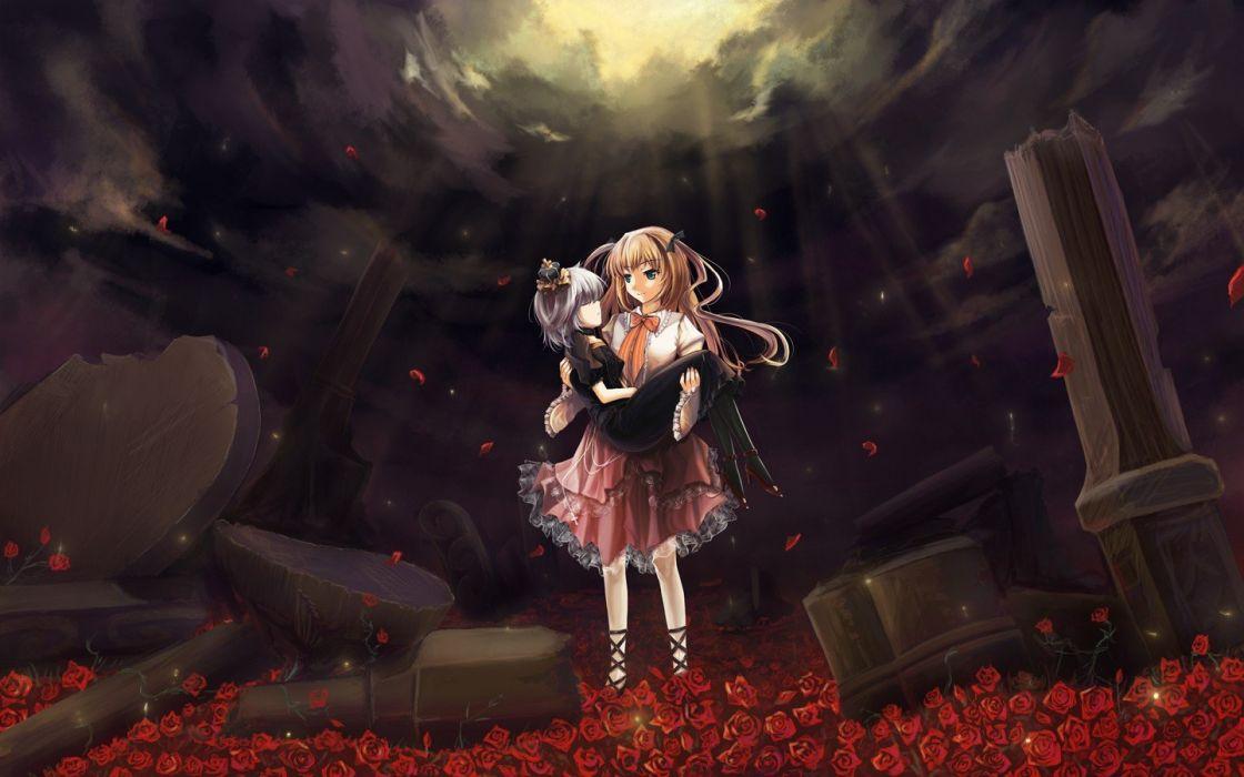 blondes ruins flowers blue eyes white hair roses anime girls wallpaper