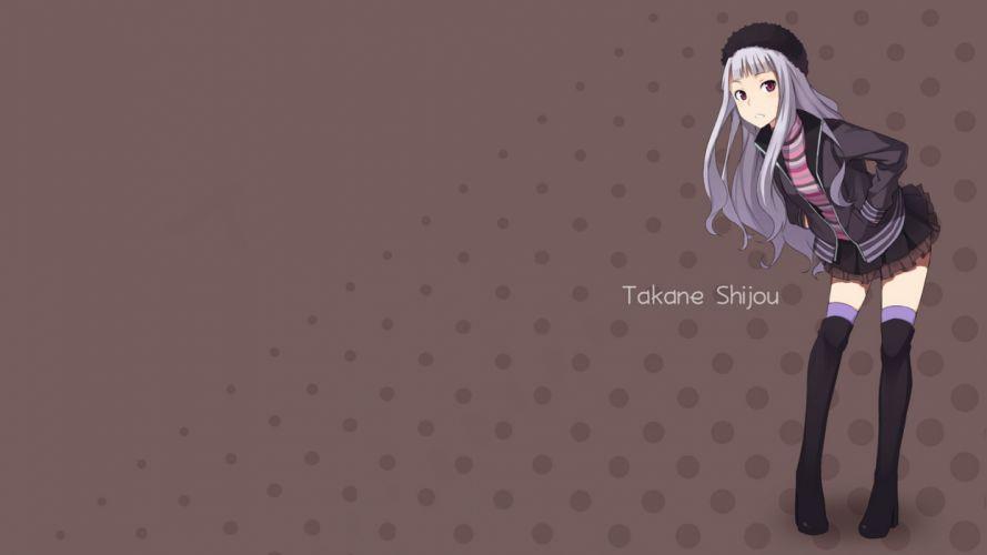 stockings skirts red eyes anime white hair anime girls Shijou Takane Idolmaster wallpaper