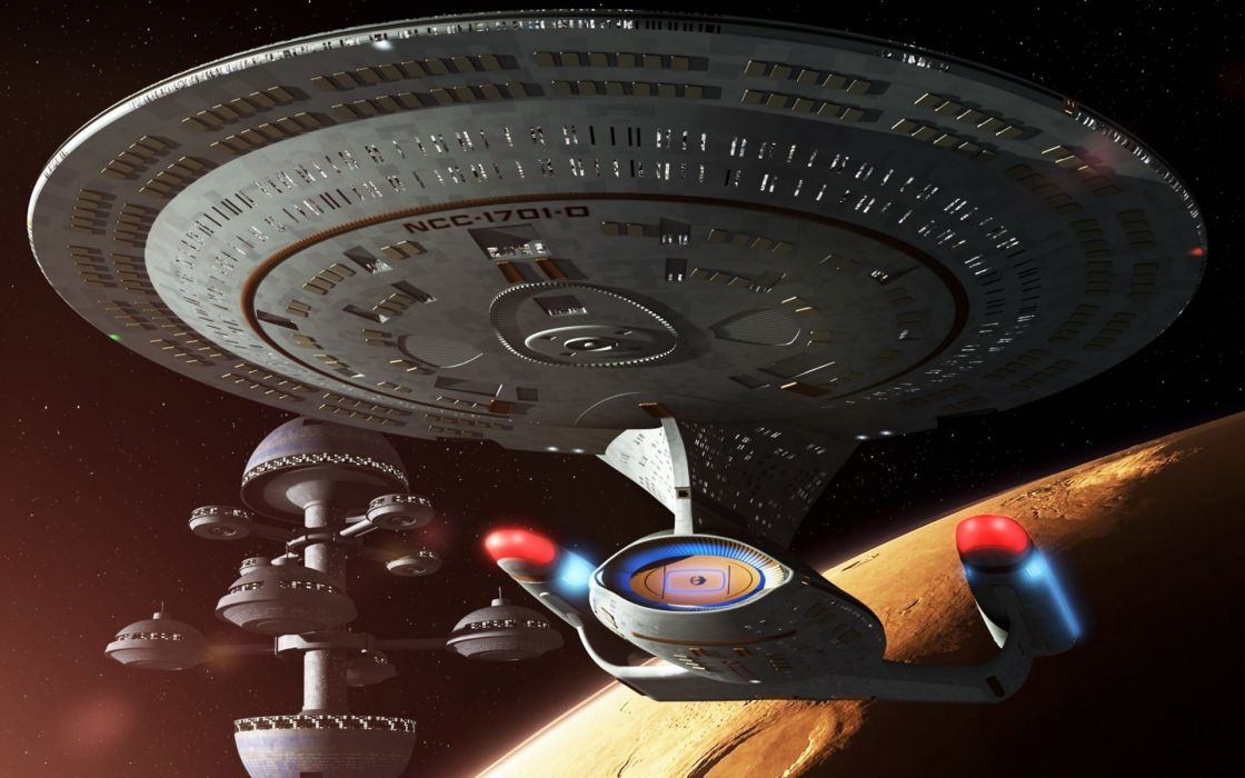 outer space stars futuristic Star Trek planets spaceships space station science fiction sci-fi wallpaper