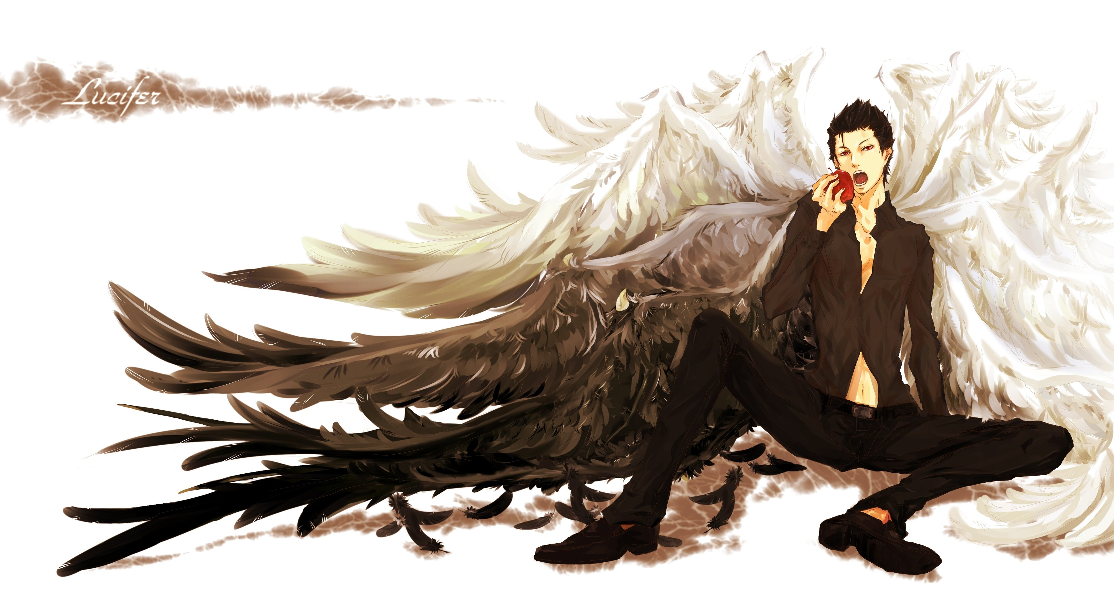 Wings short hair male anime apples black hair wallpaper ...