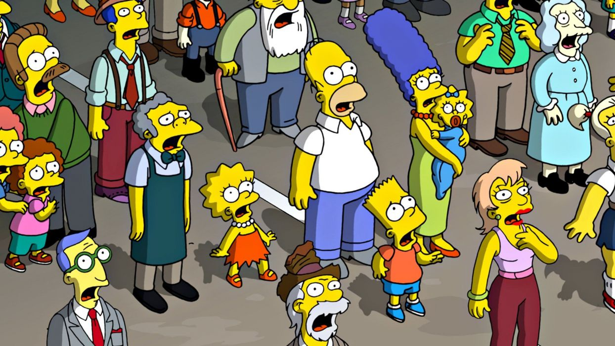 Homer Simpson The Simpsons Bart Simpson Lisa Simpson Ned Flanders Marge Simpson Maggie Simpson Rod and Todd Flanders Moe Szyslak wallpaper