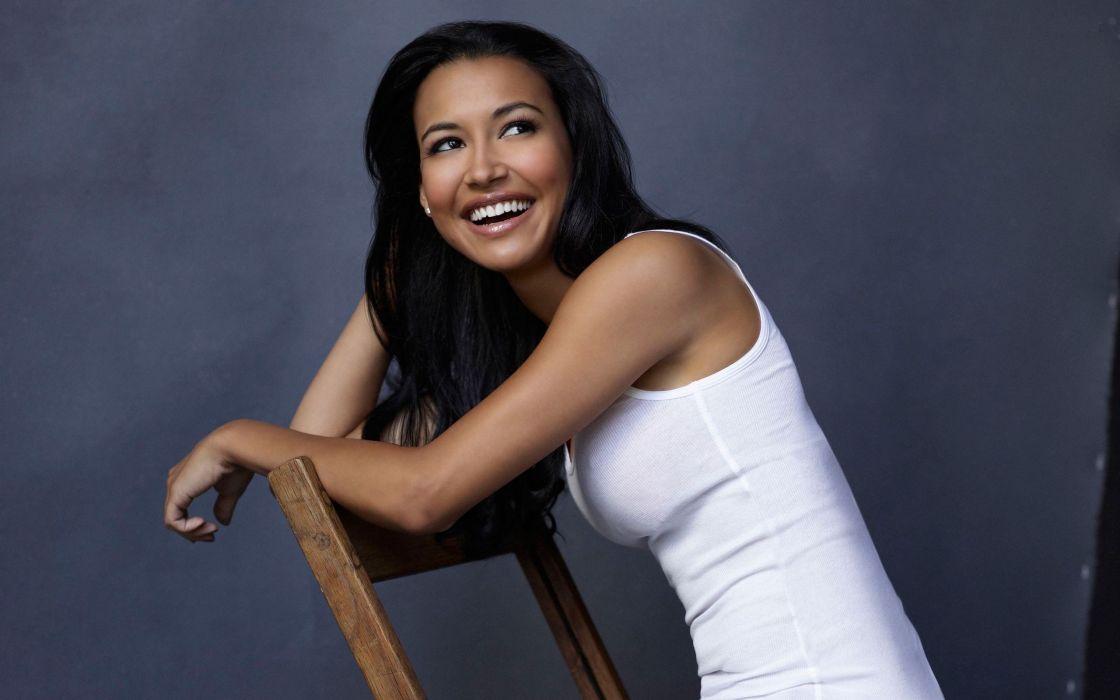 brunettes women actress brown eyes smiling chairs Naya Rivera models pink lipstick white tank top wallpaper