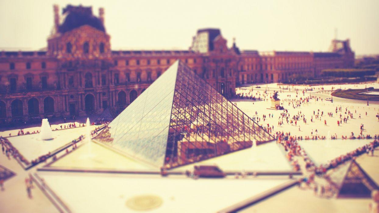 Paris architecture tilt-shift Louvre museum wallpaper