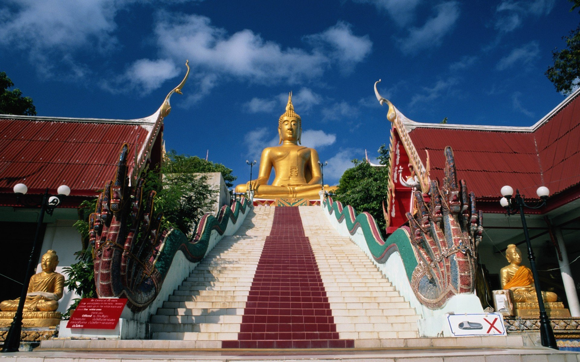 Stairways Religion Naga Buddha Thailand Temples Wallpaper