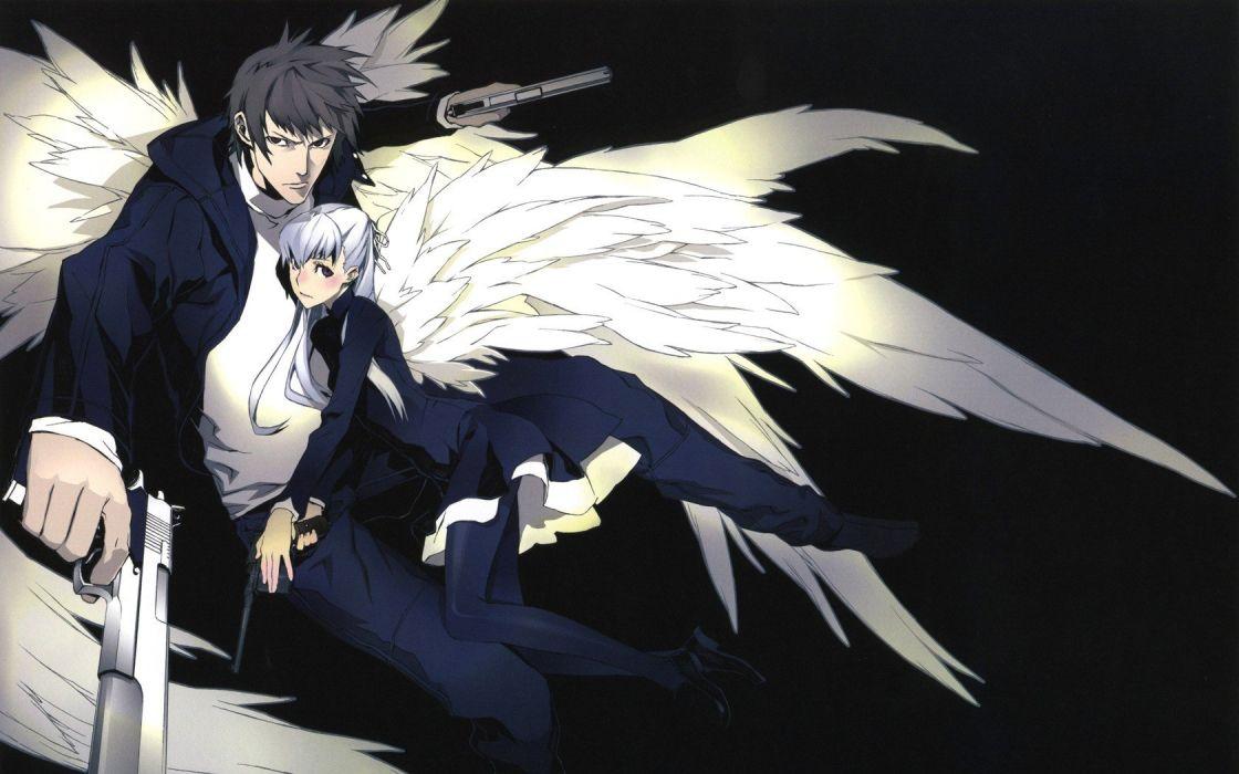 wings pistols guns anime boys Miwa Shirow anime girls wallpaper