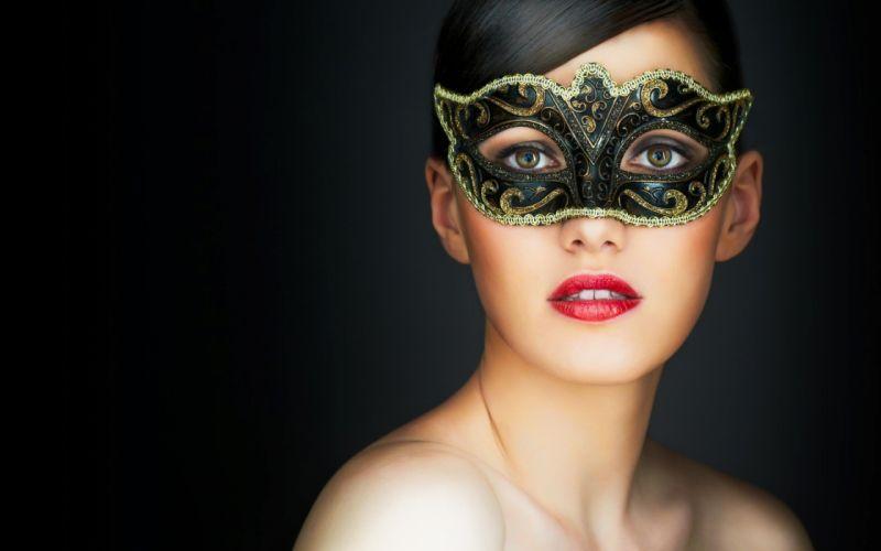 models lips masks Venetian masks wallpaper