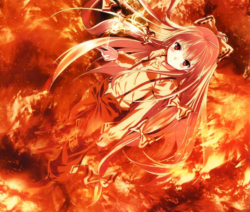 Flames Pants Video Games Touhou Red Fire Long Hair